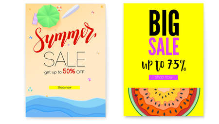 Get up discount, summer offer for shopping. Set of posters, summer sale offer. Big sale, bright banner with half past of watermelon. Seashore, sandy beach with deckchairs, sun umbrellas
