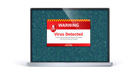 Laptop screen with alert message of virus detected. Warning message on computer screen isolated on white background. Computer virus inside binary code listing. Template for concept of security. Illustration