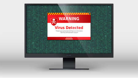 Computer monitor with alert message of virus detected . Scanning and identifying computer virus inside binary code listing. Area of the code with computer virus. Warning message on computer screen. Çizim