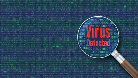 Virus detected. Scanning and identifying a computer virus inside binary code listing. Magnifying glass increases the area of the code with computer virus. Çizim