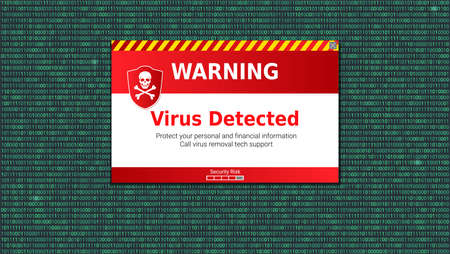 Virus detected, alert message. Scanning and identifying computer virus inside binary code listing. Warning message above area of the code with computer virus.