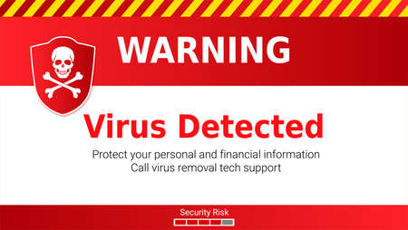 Warning of Malware attack, virus detected. Skull and crossed bones on red shield. Message requiring your attention, concept of interface cyber security. Vector illustration