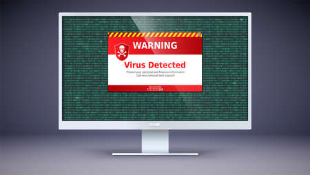 Alert message of virus detected . Scanning and identifying computer virus inside binary code listing. Code with computer virus. Warning message on computer screen. Template for concept of security.