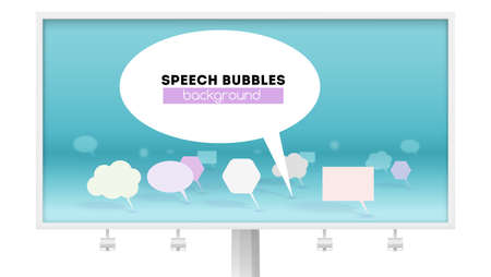 Leader of public opinion. Billboard isolated on white. Symbol of discussion, abstract speech bubbles, 3D vector illustration. Concept of communication and engineering of social network Illusztráció