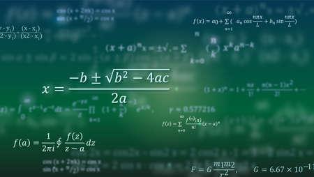 Fórmulas matemáticas. Fondo verde abstracto con ecuaciones matemáticas flotando en la pizarra. Patrón de portada, presentación, folletos. Ilustración vectorial 3d.