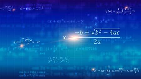 Formules mathématiques. Abstrait bleu avec des équations mathématiques flottant sur le tableau noir de l'école. Illustration 3d vectorielle. Symbole d'étude de l'algèbre, de l'arithmétique, de la physique et des sciences exactes
