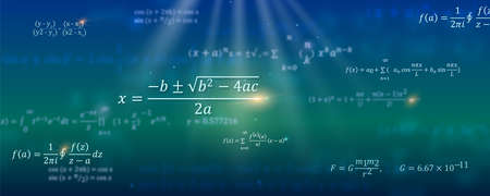 Mathematical formulas. Abstract background with Math equations floating on space. Pattern for cover, presentation, leaflets. Vector 3D illustration. Concept of calculation and search of various data.