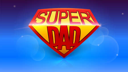 超级爸爸喜欢超级英雄。时髦的光滑的文本在蓝色背景的超级爸爸。愉快的父亲节庆祝概念。贺卡模板与发光和bokeh效果