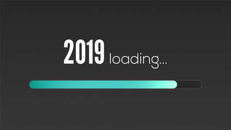 New Year 2019 is loading. Sign with loading panel, progress bar on black background. Greetings with design of text in vintage style. Vector illustration, eps10.