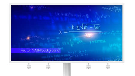 Billboard with mathematical formulas in perspective. Abstract blue background with Math equations floating on space. Vector 3D illustration. Symbol of study exact Sciences