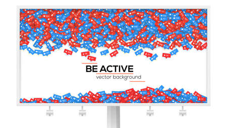 Billboard with abstract background filled with falling from above icons of social media network activity. Be active, motivational poster. Notification of likes, comments, followers