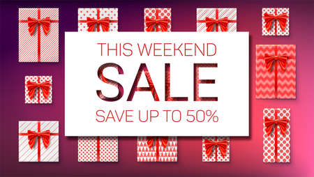 The weekend sale. Save up to fifty percent. Top view on gift boxes wrapped in paper with patterns. Holidays packages with satin ribbons and red bows. Discount and reduced of price. Vector concept