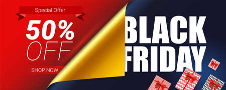 Black Friday Sale. Special offer 50 percent off. Curved corner of open wrap paper. Decoration elements for retail, shopping actions on Christmas and Black Friday. Gift boxes, red ribbon and bow Vettoriali