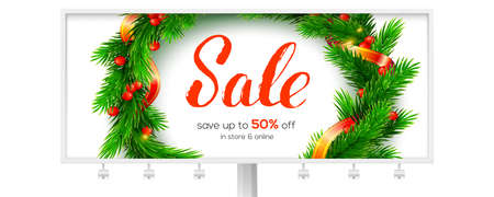 Billboard for winter Sale events. Up to 50 percent discount. Banner with design of handwritten lettering. Fir wreath on white background. Vector 3d illustration for holidays discount actions.