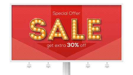 Sale and discount. Billboard with ads. Get extra 30 percent. Letters with light bulb in Broadway or circus style. Handwritten calligraphic text. Vector banner for promo and discounts actions.