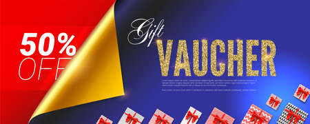 Gift voucher. Premium design of certificate for VIP persons. Coupon with golden glittering text, gift boxes and curled open corner of wrapping paper. Vector 3d illustration for discount actions.