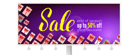 Sale. Billboard with handwritten lettering. Great discount up to fifty percent discount. Ad for discount actions decorated of gift boxes. Vector 3D illustration