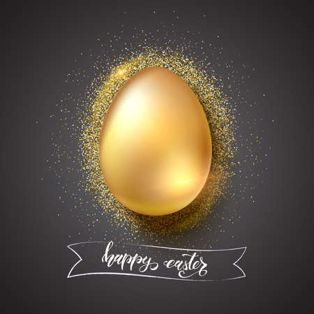 Golden egg for celebration of happy Easter on glittering golden dust background. Hand-drawn text happy easter on vintage banner, brush strokes style. Vector 3d illustration for holiday greetings.