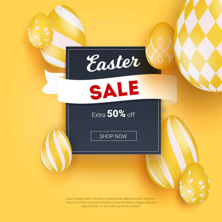 Sale on Easter holidays. Realistic three-dimensional Easter eggs with ethnic hand drawed pattern. Volumetric creative composition. Discount proposal, fifty percent off