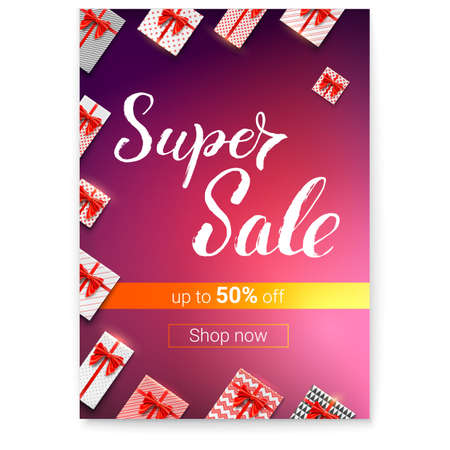 Super Sale with lots of gifts. Gift boxes with red ribbons and bows wrapped in papers. Handwritten lettering. Great discount up to 50 percent off. Vector illustration for holidays discount actions