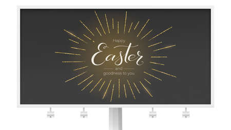 Billboard for festive Happy Easter greeting. Design of calligraphy lettering on black background. Handwritten text with golden glittering rays. Retro label for religious holiday. Vector illustration
