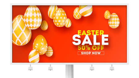 Easter sale, special holiday offer. Billboard with design of promotional text. Set of volumetric Easter golden eggs hanging on red background. Vector illustration for festive discount actions