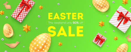 Easter sale, 50 percent off. Holiday offer, huge discounts. Pattern with festive gift boxes, golden Easter eggs, cookies and Easter decorative elements. Top view on promotional banner, flat lay