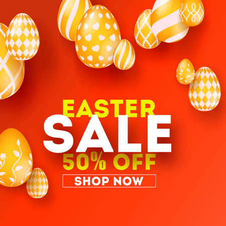 Easter sale, special holiday offer. Creative design of text. Get up to 50 percent off. Set of hand painted Easter golden eggs on red background. Vector illustration for festive discount actions Banque d'images - 125330906