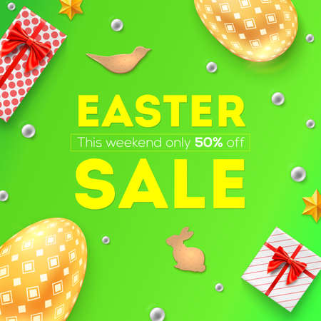 Easter sale, discount of 50 percent off. Pattern with festive gift boxes, golden Easter eggs, cookies and Easter decorative elements. Top view on promotional banner with green background Banque d'images - 125330907