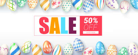 Easter sale, springtime special offer. Ad banner decorated collection of hand painted easter eggs on white background. Funny holiday discount actions. Get up to fifty percent discounts