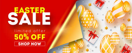 Easter sale get up to 50 percent discount. Banner with bended corner of golden page. Promo for shopping actions. Abstract pattern from golden easter eggs, gift boxes and toys on white background Illustration