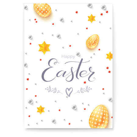 Easter decorative poster with handwritten greetings text. Doodles and sketches of easter signs. Easter eggs, gold stars and pearls in abstract pattern. Vector greetings card for Church holidays.