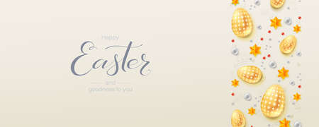 Three-dimensions Easter with decorative border. Hand written calligraphic text of greetings for easter holidays. Easter eggs, stars and balls in abstract pattern. Greetings card for Church holidays. Çizim