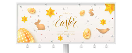 Billboard with vintage Easter pattern. Hand written calligraphic text of greetings for easter holidays. Easter eggs, stars and cookies in the form of rabbits in abstract pattern. 3d vector.