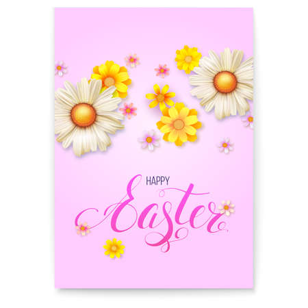 Poster template for Happy Easter day. 3d realistic vector flowers buds on pink background. Spring flower composition. Template for greetings with design of Handwriting text happy Easter