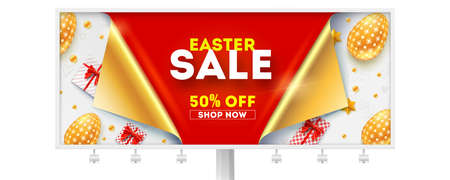 Easter sale get up to 50 percent discount. Billboard for retail shopping actions. Golden easter eggs, gift boxes and toys on white background. Design of text with message about sale, reduce of price Çizim