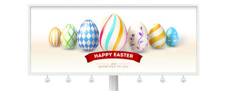 Happy Easter design of festive billboard with greetings. Hand painted easter eggs and design of text on red ribbon. Realistic vector illustration for Easter holidays isolated on white background. Illustration
