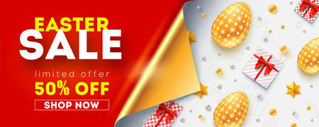 Easter sale get up to 50 percent discount. Banner with bended corner of golden page. Promo of shopping actions. Golden easter eggs, gift boxes and toys on white background.