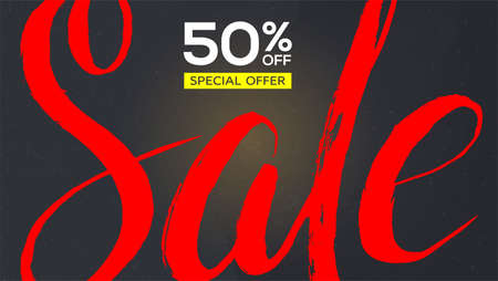 Sale banner. Red handwriting text Sale with scratches on black background. Design of text fifty percent discount. Grunge template for discount actions, promo events in shops and markets