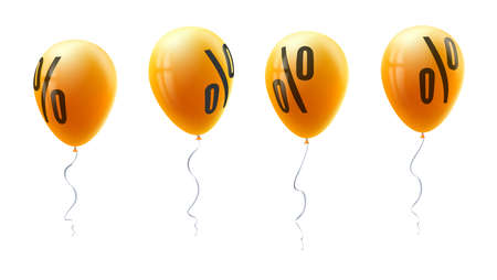 Yellow balloons with percent sign, symbol of discount isolated on white background. Set of sales icons for retail, shopping, markets. Balloons floating in the air. Template for promo actions.
