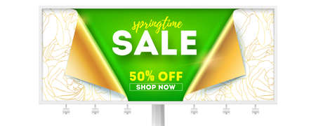 Springtime sale, shopping now. Get up to 50 percent discount. Billboard with opened bended corners of wrapping paper. Abstract pattern from golden buds of roses on white paper