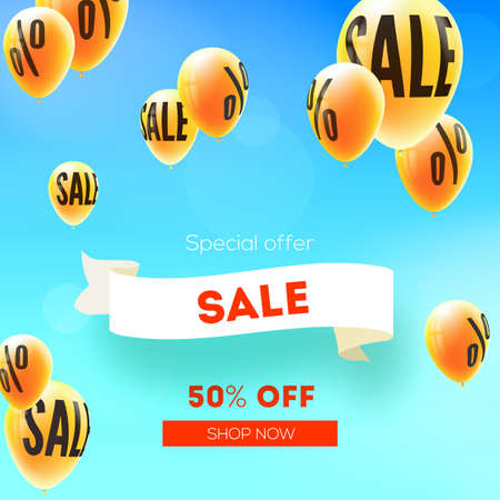 Sale, fifty percent discount. Yellow balloons flying in blue sky with sign of percent. Ad of sales actions. Vector 3d illustration. Creative design for discounts actions in shop and markets