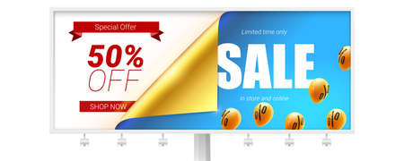 Sale, fifty percent discount. Billboard with bended corner of golden paper isolated on white. Vector banner. Special offer clearance 50 percent off. Set of flying in blue sky balloons
