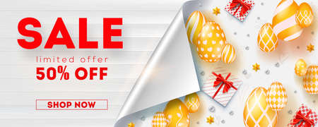 Sale get up to 50 percent discount, limited offer. Banner with bended corner of page. Wooden textured background. Promo of shopping actions. Golden eggs, gift boxes and toys on white background