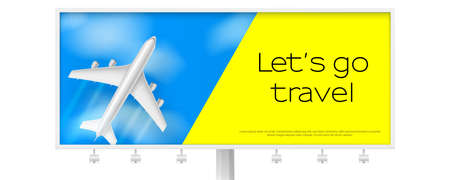 Silver airplane in blue sky with clouds. Billboard with flying plane on blue background. Concept of two-tone advertising poster for travel agencies, travel, journey. Jet commercial airplane.