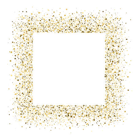 Glittering frame from shining golden dust isolated on white background. Texture with gold glitter. Template for banner, poster, luxury cover.