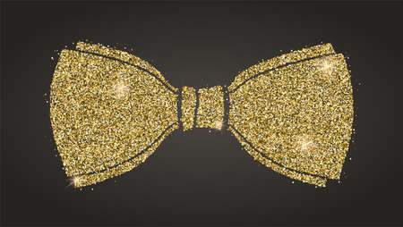 Classical bow with glitter. Silhouette of bow tie from sparkling golden dust isolated on black background. Decorative symbol for invitation, weddings, greeting card Ilustração