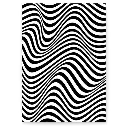 Abstract layout with wavy lines. Twisted hipsters background. Pattern from lines, halftone effect. Black and white modern art texture. Minimalistic design template for poster, banner, cover, postcard Illustration