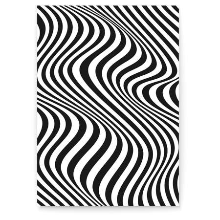 Layout with wavy lines. Abstract twisted duotone background. Pattern from lines, halftone effect. Black and white modern texture. Minimalistic design template for poster, banner, cover, postcard Vector Illustration