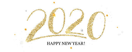 Handwritten golden lettering 2020. Numbers with shining glittering dust for greeting card with chinese calligraphy. Happy New Year wishes for 2020 with abstract pattern isolated on white background Ilustração